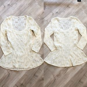 Free People Floral Lace White Stretch Lace Blouse